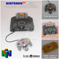 Nintendo 64 Micro Console Cross Stitch by LordLibidan