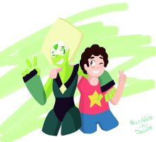 Peridot and Steven by Scribble-n-Doodle