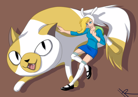 Cake the Cat, and Fionna the Human by waxwiing