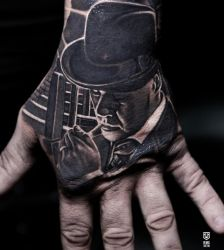 Black And White Hand Tattoo by Remistattoo