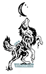 Starry Splatter Wolf Tribal Design by WildSpiritWolf