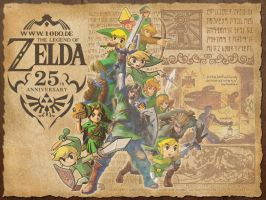 Zelda 25th Anniversary Wallpaper 4:3 by Marth89