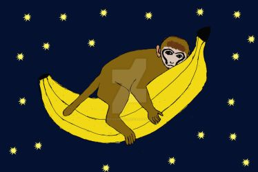Baby monkey riding a banana through space by bad-squirrell
