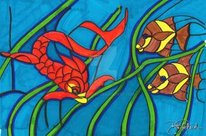 Stained Glass - Fish by B-Richards