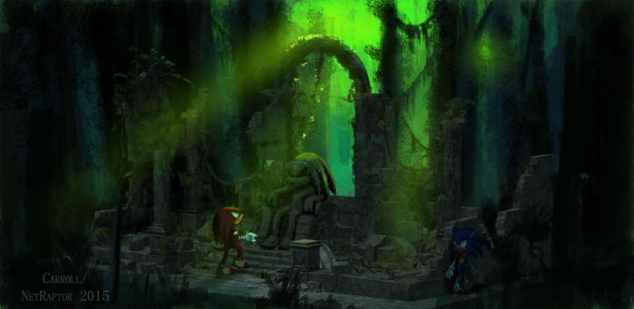 Knuckles in the ruins by NetRaptor