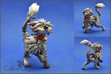 Tobi the Tabby griffin - polymer clay by CalicoGriffin