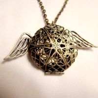 Flying Peace Cogs Gears Locket by SteamSociety