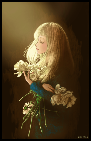 . smelling the flowers . by princess-aki