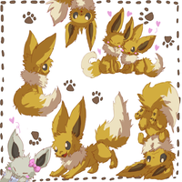 Eevee doodles by cheerubi