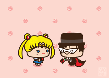 Sailor Moon x Tuxedo Mask by aiwa-9