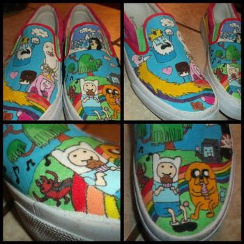 Hand Painted Adventure Time Canvas Shoes by ChloeyLovesLlamas
