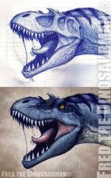 Gorgosaurus Sketch and Color by FredtheDinosaurman