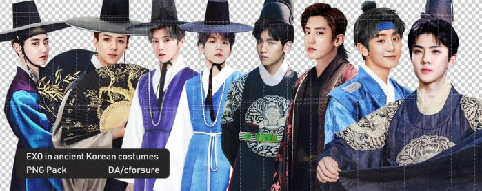 Exo in traditional korean uniforms by cforsure