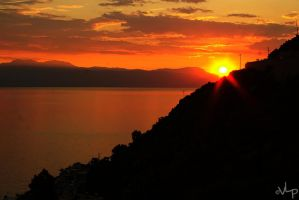 Sunset over the Bay Of Corinth by Velvet-Lies