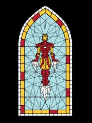 Stained Glass Iron Man Test by mattcantdraw