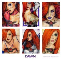 DAWN 20th Ann. Sketch Cards 4 by veripwolf
