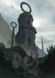 Foggy Morning At The Abandoned Tower by ArtOfSoulburn