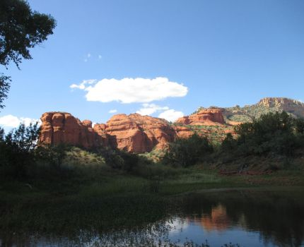 Red Rocks and Small Pond by JesterOfLullaby