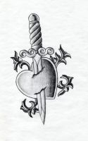 Heart and Dagger Tattoo by XenatheConqueror