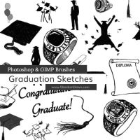 Graduation Sketches Photoshop and GIMP Brushes by redheadstock