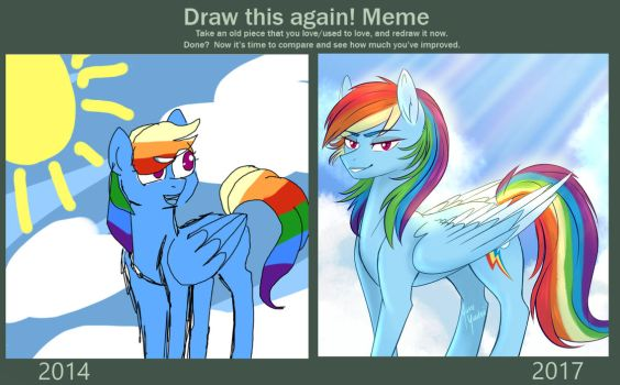 Draw this again meme - Rainbow Dash ~ ! by YumeYuuheii
