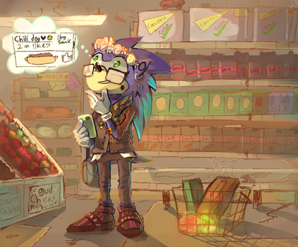 Sonic at the grocery store being a hipster by rumbletree6