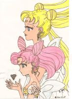 Sailor Monn with her daughter by LuminaLamer