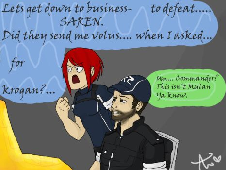 Shepard's pep talk on the way to Illos by Ayame1014