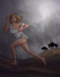 Raven Running from the Slavehounds by warriorneedsfood