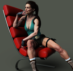 Classic Tomb Raider chair pose by ArtiMuller