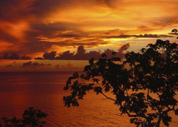 St. Lucia photo off cliff at sunset by JMDGraphX