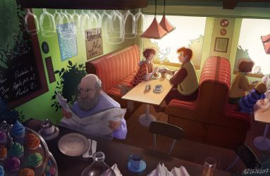 Cafe scene by MonsieArts