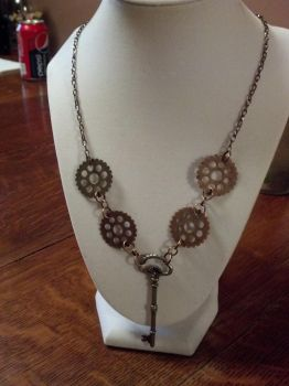 Gear and Key Pendant Necklace Steampunk by bookerboots