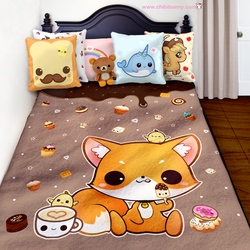 Kawaii fox and cute cakes fleece blanket by tho-be