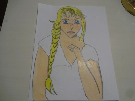 Freckled, blonde girl with braid by chip613f