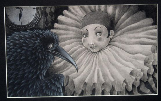 pierrot and a crow - SOLD by luve