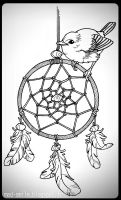 TATTOO - Sparrow and dreamcatcher by mad-smile