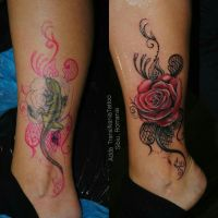 Rose and lace coverup tattoo by transilvaniatattoo66