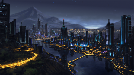 city at night by Sketchbookuniverse