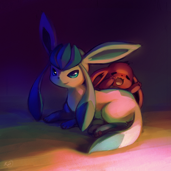 Glaceon and Eevee by KoriArredondo