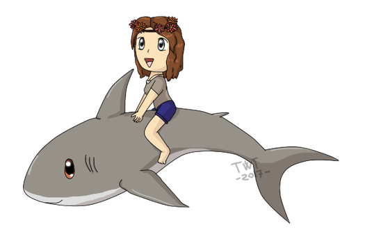 [Gift] Riding chibi sharks by The-Winged-Tiger