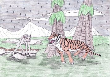 Werewolf and Tiger in Castle Grounds by Louisetheanimator