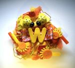 orange and yellow ''W'' initial brooch by queenofexecutions
