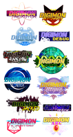 [r+p] so, so, so many digimon fanproject logos by glitchgoat