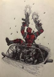 Deadpool on a Convertible  by swiftcross