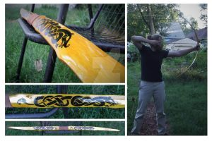Osage flatbow with Urnes design by one-rook