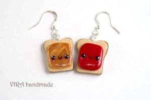 Kawaii Peanut Butter and Jelly Earrings by virahandmade