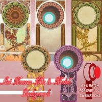 Art Nouveau Mix and Match Backgrounds by ArtbroSean
