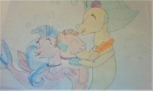 Skystar and Silverstream hugging Creative Wave by Dracorider19