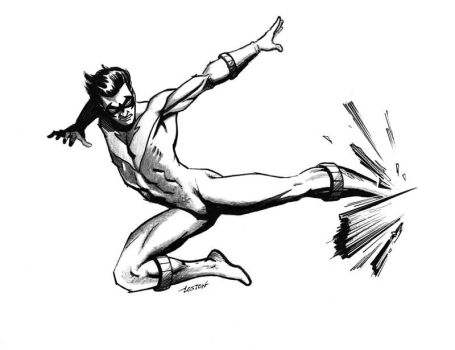 Nightwing Flying Kick by LostonWallace